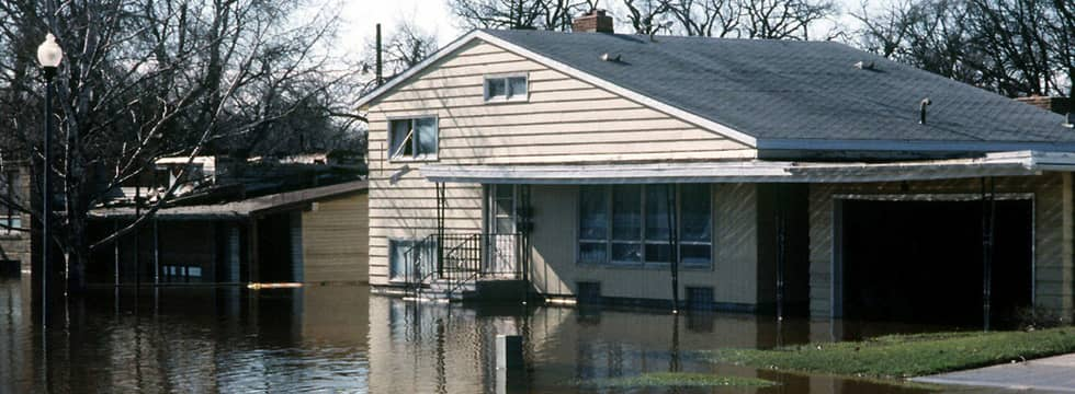 Flooded house and garden