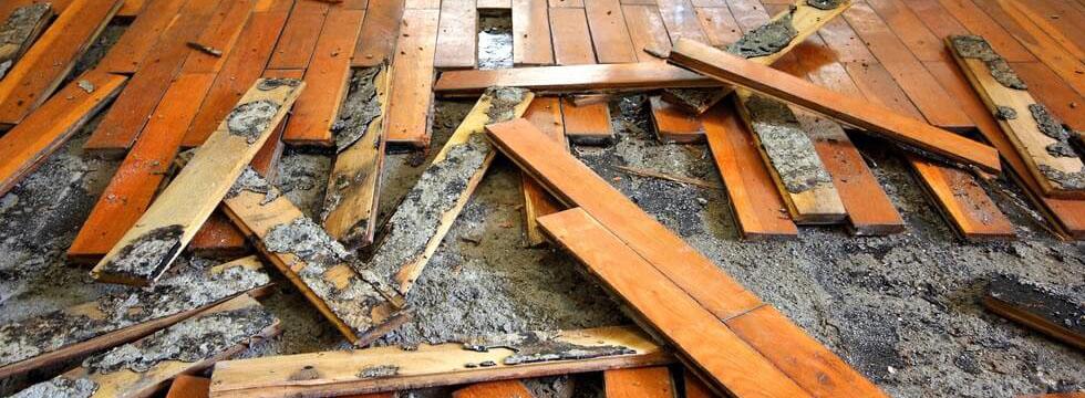 Water damage remediation service inside wooden floor